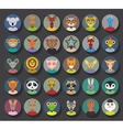 Set of animals faces circle icons set in Trendy vector image vector image