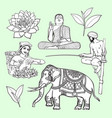 set of hand drawn sri lanka cultural symbols vector image