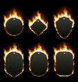 set of six frames surrounded with flame vector image vector image