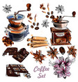 set with coffee grinder anis stars and coffee vector image
