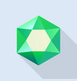 shiny emerald icon flat style vector image vector image