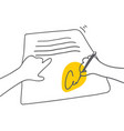 signing document man signing document with yellow vector image