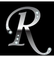 silver metallic letter R vector image