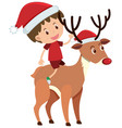 single character boy riding reindeer on white vector image