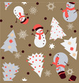 snowman and spruce winter seamless pattern vector image vector image