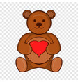 teddy bear with red heart icon cartoon style vector image