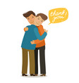 thank you hugs banner friendly meeting concept vector image