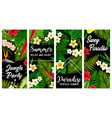 tropical plants and flowers banners set vector image vector image