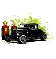 vintage cars stop at the gas station vector image