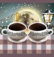 coffee mugs heart shape full moon over the vector image