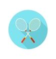 Badminton Racket flat icon with long shadow vector image