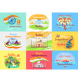 indian independence day celebration emblems set vector image