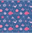 doodle kids sea animals seamless pattern vector image