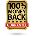 100 money back guarantee golden sign vector image vector image