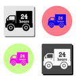 24 hour delivery flat icon vector image vector image