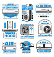 air conditioning heating and cooking hood icons vector image