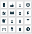 alcohol icons set with lemon sausage cocktail vector image