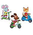 Animals on vehicles vector image vector image