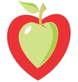 apple heart vector image vector image