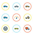 automobile icons colored line set with crossover vector image vector image