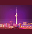 beautiful panorama city on sky tower in vector image