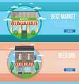 best market and beer bar banner set vector image vector image