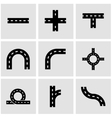 black road elements icon set vector image vector image