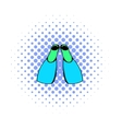 Blue flippers icon comics style vector image vector image