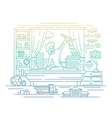 Boy playing in his room - line design vector image vector image