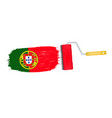 brush stroke with portugal national flag isolated vector image vector image