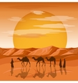 Caravan in desert background Arab people vector image