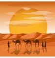 Caravan in desert background Arab people vector image vector image