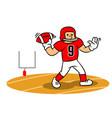 cartoon american football player steady throw on vector image vector image