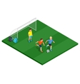Children playing soccer outdoors Flat 3d vector image