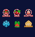 christmas icons for slots bonus scatter and wild vector image vector image
