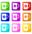 cup of tea icons 9 set vector image vector image