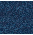 dark Blue waving curls marine sea pattern ocean vector image