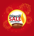 diwali sale and discount banner with fireworks vector image vector image