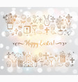 easter greeting card with easter doodles on white vector image vector image
