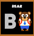 english alphabet letter b bear vector image