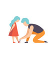 father tying the laces of his little daughter dad vector image vector image