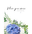 floral greeting card design with hydrangea flowers vector image