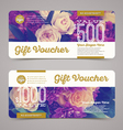 Gift voucher template with floral background vector image