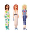 gils dressed in elegant stylish summer clothes set vector image