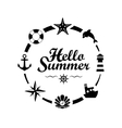 Hello Summer lettering on white background vector image vector image