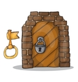 key and door of the castle vector image vector image