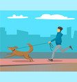 man running with dog on leash outdoor cityscape vector image vector image