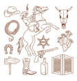 monochrome wild west icons collection vector image vector image