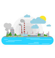nuclear power station on the riverside flat vector image