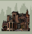 painted ruins of a two story brick mansion vector image